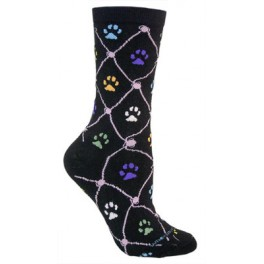 Cat Paw Prints Colourful Black Socks