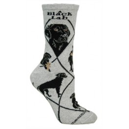 Black Labrador Grey Socks