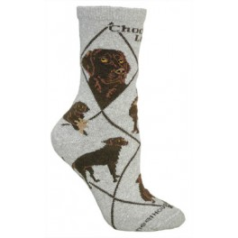 Chocolate Labrador Grey Socks