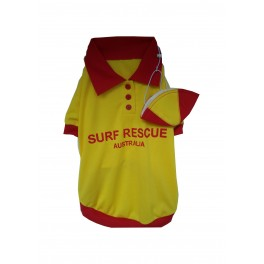 Surf Lifesaver Dog Costume with Cap Size 4
