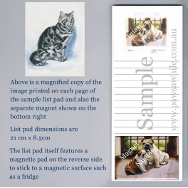 Grey Tabby Cat List Pad with Magnet