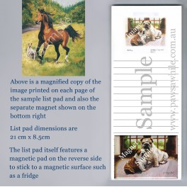 Horse and Dog in Field List Pad with Magnet