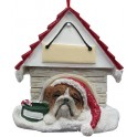 Bulldog in Christmas Dog House - size 8 cm (h)