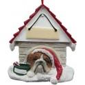 Bulldog in Christmas Dog House