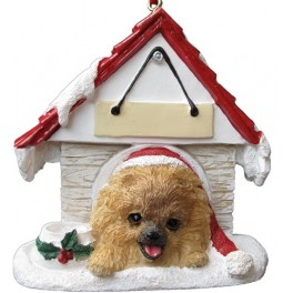 Pomeranian in Christmas Dog House - size 8 cm (h)