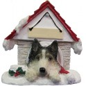 Siberian Husky in Christmas Dog House - size 8 cm (h)