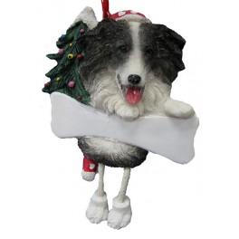 Border Collie Dangling Legs Christmas Ornament - 12.5 cm (h) 9 cm (w)
