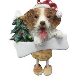 Brittany Spaniel Dangling Legs Christmas Ornament - 12.5 cm (h) 9 cm (w)