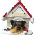 Yorkshire Terrier in Christmas Dog House